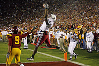 6 October 2007: Wide receiver Mark Bradford catches the game-winning touchdown pass during Stanford's 24-23 win over the #1 ranked USC Trojans in the Los Angeles Coliseum in Los Angeles, CA.