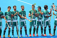 Pakistan players line up for the national anthem during the Hockey World League Semi-Final match between Pakistan and India at the Olympic Park, London, England on 18 June 2017. Photo by Steve McCarthy.