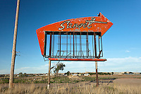 "Abandoned ""Sunset"" Sign in Miles City, MT"