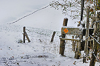 A yellow hiking sign indicates a footpath in winter landscape