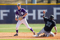 Chris Clare (9) of the High Point Panthers gets the force out as G.K. Young (37) slides into second base at Willard Stadium on March 15, 2014 in High Point, North Carolina.  The Chanticleers defeated the Panthers 1-0 in the first game of a double-header.  (Brian Westerholt/Four Seam Images)