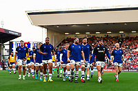 The Bath Rugby team leave the field at the end of the pre-match warm-up. Gallagher Premiership match, between Bristol Bears and Bath Rugby on August 31, 2018 at Ashton Gate Stadium in Bristol, England. Photo by: Patrick Khachfe / Onside Images