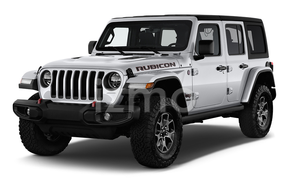 2018 Jeep Wrangler-Unlimited Rubicon 5 Door SUV angular front stock photos of front three quarter view