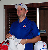 Bernd Wiesberger in the team changing room after Team Europe overcame Asia 14/10 to win the Eurasia Cup at Glenmarie Golf and Country Club on the Sunday 14th January 2018.<br /> Picture:  Thos Caffrey / www.golffile.ie