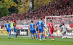 07.10.2018, Stadion an der Wuhlheide, Berlin, GER, 2.FBL, 1.FC UNION BERLIN  VS. 1.FC Heidenheim, <br /> DFL  regulations prohibit any use of photographs as image sequences and/or quasi-video<br /> im Bild 1: 1 durch Rafael Gikiewicz (1.FC Union Berlin #1)<br /> <br /> <br />      <br /> Foto &copy; nordphoto / Engler