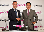 November 18, 2016, Tokyo, Japan - European aircraft giant Airbus CEO Fabris Bregier shakes hands with Japan's budget airline Peach Aviation  CEO Shinichi Inoue as they agreed that Peach will buy 13 aircrafts of Airbus A320 at a press conference in Tokyo on Friday, November 18, 2016. Peach will purchase 3 A320 ceo aircrafts in 2018 and will receive the first A320 neo in 2019 from the Airbus.   (Photo by Yoshio Tsunoda/AFLO) LWX -ytd-