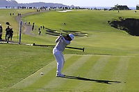 NFL Arizona Cardinals wide receiver Larry Fitzgerald tees off the 6th tee during Sunday's Final Round of the 2018 AT&amp;T Pebble Beach Pro-Am, held on Pebble Beach Golf Course, Monterey,  California, USA. 11th February 2018.<br /> Picture: Eoin Clarke | Golffile<br /> <br /> <br /> All photos usage must carry mandatory copyright credit (&copy; Golffile | Eoin Clarke)
