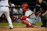 Palm Beach Cardinals catcher Julio Rodriguez (34) during a Florida State League game against the Lakeland Flying Tigers on April 17, 2019 at Publix Field at Joker Marchant Stadium in Lakeland, Florida.  Lakeland defeated Palm Beach 1-0.  (Mike Janes/Four Seam Images)