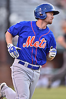 Kingsport Mets designated hitter Patrick Mazeika (19) runs to first during a game against the  Johnson City Cardinals on June 25, 2015 in Johnson City, Tennessee. The Mets defeated the Cardinals 10-8 (Tony Farlow/Four Seam Images)