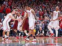 The Ohio State Buckeyes celebrates as they mount a comeback during the second half of the NCAA men's basketball game between the Ohio State Buckeyes and the Minnesota Golden Gophers at Value City Arena in Columbus, Ohio, on Saturday, Feb. 22, 2014. The Buckeyes overcame a 10-point deficit at the half to defeat the Minnesota Golden Gophers 64-46. (Columbus Dispatch/Sam Greene)