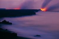 Predawn lava flow<br />   enters the Pacific Ocean<br /> Hawaii Volcanoes National Park<br /> Island of Hawaii, Hawaii