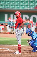 Jose Verrier (12) of the Orem Owlz bats against the Ogden Raptors at Lindquist Field on June 20, 2019 in Ogden, Utah. The Owlz defeated the Raptors 11-8. (Stephen Smith/Four Seam Images)