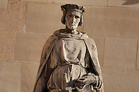 Statue of Jean de Joinville, writer, 1224-1317, by Jean Marcellin, in the Henri IV Wing, in the Cour Napoleon at the Musee du Louvre, Paris, France. A series of 86 statues of famous men were placed in this courtyard 1853-57 under the architects Louis Visconti and Hector Lefuel. Picture by Manuel Cohen