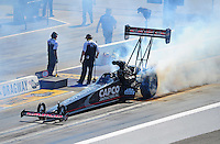 Apr. 14, 2012; Concord, NC, USA: NHRA top fuel dragster driver Steve Torrence during qualifying for the Four Wide Nationals at zMax Dragway. Mandatory Credit: Mark J. Rebilas-