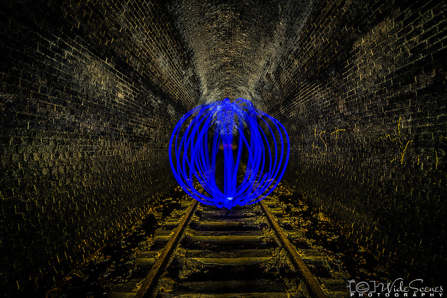 Blue orb inside Old Helensburgh Station disused railway tunnel, NSW, Australia