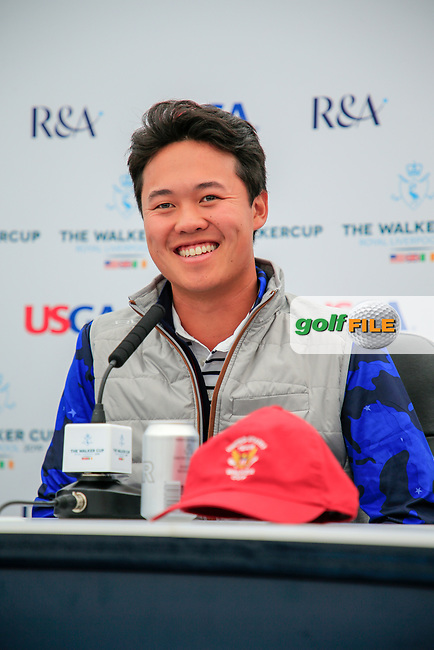 Brandon Wu (USA)during the press conference at the Walker Cup, Royal Liverpool Golf Club, Hoylake, Cheshire, England. 06/09/2019.<br /> Picture Fran Caffrey / Golffile.ie<br /> <br /> All photo usage must carry mandatory copyright credit (© Golffile   Fran Caffrey)