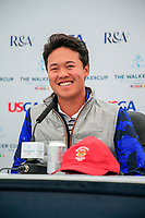Brandon Wu (USA)during the press conference at the Walker Cup, Royal Liverpool Golf Club, Hoylake, Cheshire, England. 06/09/2019.<br /> Picture Fran Caffrey / Golffile.ie<br /> <br /> All photo usage must carry mandatory copyright credit (© Golffile | Fran Caffrey)