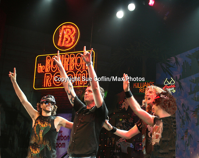 Curtain call of cast at the opening night of the Broadway play Rock of Ages on October 16, 2008 at the New World Stages Theatre with curtain call and the after party at Marquee, New York City, New York. (Photo by Sue Coflin/Max Photos)