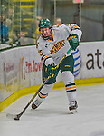 21 February 2015:  University of Vermont Catamount Defenseman Nick Luukko, a Senior from West Chester, PA, in third period action against the Merrimack College Warriors at Gutterson Fieldhouse in Burlington, Vermont. The teams played to a scoreless tie as the Cats wrapped up their Hockey East regular home season. Mandatory Credit: Ed Wolfstein Photo *** RAW (NEF) Image File Available ***