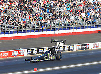 Feb 11, 2018; Pomona, CA, USA; NHRA top fuel driver Brittany Force prior to crashing during round one of the Winternationals at Auto Club Raceway. Mandatory Credit: Mark J. Rebilas-USA TODAY Sports
