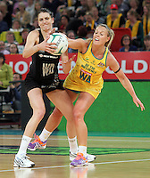 16.09.2012 Silver Ferns Anna Harrison and Australian Kim Green in action during the first netball test match between the Silver Ferns and the Australian Diamonds played at the Hisense Arena In Melbourne. Mandatory Photo Credit ©Michael Bradley.