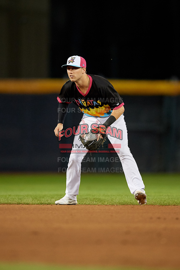 Erie Piñatas second baseman Kody Clemens (8) during an Eastern League game against the Las Ardillas Voladoras de Richmond on August 28, 2019 at UPMC Park in Erie, Pennsylvania.  Richmond defeated Erie 4-3 in the second game of a doubleheader.  (Mike Janes/Four Seam Images)