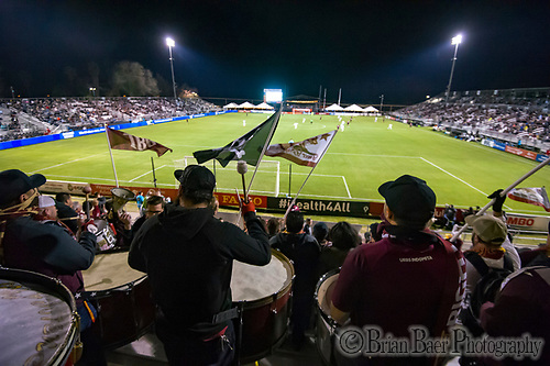 The Tower Bridge Battalion beats large drums and wave flags during the Sacramento Republic FC friendly match against the Seattle Sounders at Papa Murphy Field, Thursday Feb 15, 2018.  <br /> photo by Brian Baer (Brian Baer/Special to The Bee)