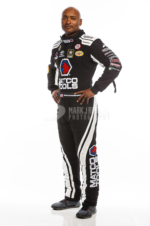 Feb 10, 2016; Pomona, CA, USA; NHRA top fuel driver Antron Brown poses for a portrait during media day at Auto Club Raceway at Pomona. Mandatory Credit: Mark J. Rebilas-USA TODAY Sports