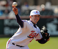Clemson RHP Graham Stoneburner (15) pitches in a game between the Charlotte 49ers and Clemson Tigers Feb. 22, 2009, at Doug Kingsmore Stadium in Clemson, S.C. (Photo by: Tom Priddy/Four Seam Images)