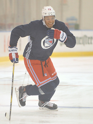 K'Andre Miller #79 skates during New York Rangers Prospect Camp at Madison Square Garden Training Center in Greenburgh, NY on Tuesday, June 26, 2018.