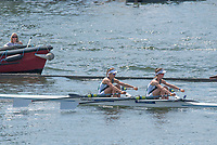"""Henley on Thames, United Kingdom, 7th July 2018, Friday, View,  S.C .Duncan and D.F,M, SEMPLE, """"Exeter University"""", from the """"Regatta Enclosure, """"Fourth day"""", of the annual,  """"Henley Royal Regatta"""", Henley Reach, River Thames, Thames Valley, England, © Peter SPURRIER,"""