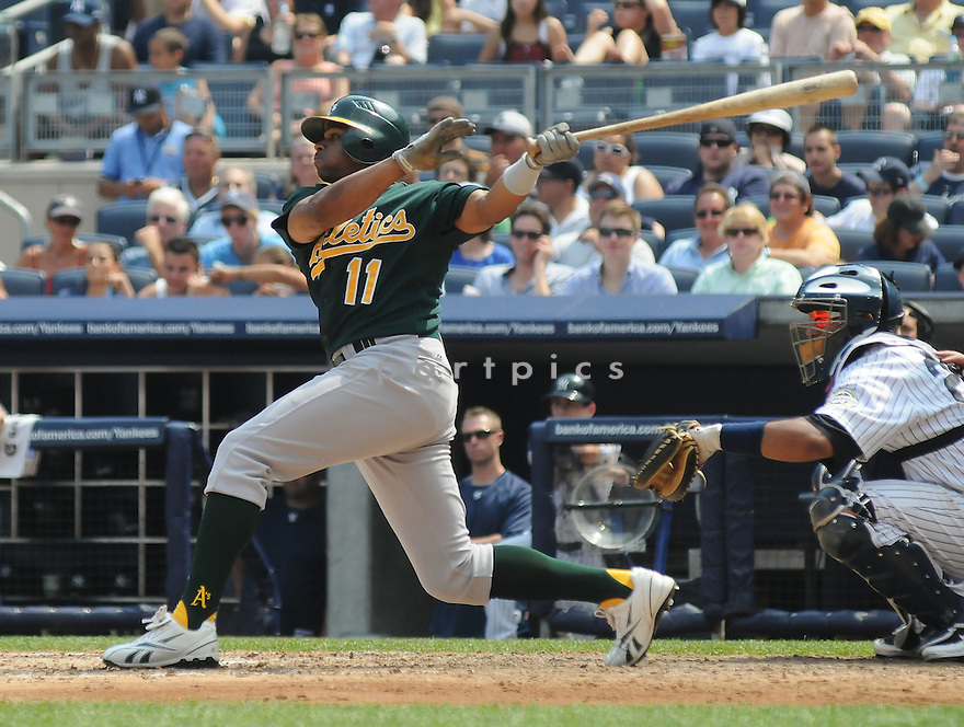 RAJAI DAVIS, of the Oakland A's  , in action  during the A's  game against the New York Yankees on July 25, 2009 in New York, NY. The A's beat  the Yankees 6-4.