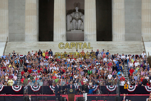 United States President Donald J. Trump delivers remarks at his Salute to America event in Washington D.C. on July 4, 2019.  The event has been criticized as politicizing a traditionally non-political holiday.<br /> CAP/MPI/CNP<br /> ©CNP/MPI/Capital Pictures