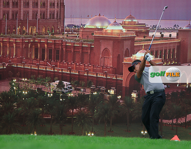 Thongchai Jaidee tees off on the 12th tee during Thusday Day 1 of the Abu Dhabi HSBC Golf Championship, 20th January 2011..(Picture Eoin Clarke/www.golffile.ie)