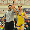 Keith Cassar of Oyster Bay raises his arm after a victory over Locust Valley's Vito Rodriguez in a 120 pound bout in the Nassau County Division II varsity wrestling finals at Cold Spring Harbor High School on Saturday, Feb. 10, 2018.