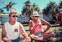 Dave MacAulay (AUS)  and Jamie Brisick (USA)  on French island of Reunion in the Indian Ocean. MacAulay and Brisick were both there for a Quiksilver surf trip. Circa 1989 Photo: joliphotos.com