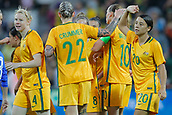 26th March 2018, nib Stadium, Perth, Australia; Womens International football friendly, Australia Women versus Thailand Women; Matildas players Samantha Kerr and Larissa Crummer celebrate a first half goal