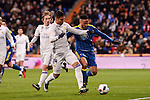 Real Madrid's Carlos Henrique Casemiro and Celta de Vigo's Theo Bongonda during Copa del Rey match between Real Madrid and Celta de Vigo at Santiago Bernabeu Stadium in Madrid, Spain. January 18, 2017. (ALTERPHOTOS/BorjaB.Hojas)