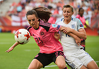 20170719 - UTRECHT , NETHERLANDS : English Ellen White (R) and Scottish Chloe Arthur (L)  pictured during the female soccer game between England and Scotland  , the frist game in group D at the Women's Euro 2017 , European Championship in The Netherlands 2017 , Wednesday 19 th June 2017 at Stadion De Galgenwaard  in Utrecht , The Netherlands PHOTO SPORTPIX.BE | DIRK VUYLSTEKE