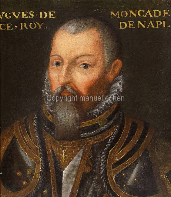 Portrait of Hubert de Moncada, King of Naples, in the Galerie des Illustres or Gallery of Portraits, early 17th century, in the Chateau de Beauregard, a Renaissance chateau in the Loire Valley, built c. 1545 under Jean du Thiers and further developed after 1617 by Paul Ardier, Comptroller of Wars and Treasurer, in Cellettes, Loir-et-Cher, Centre, France. The Gallery of Portraits is a 26m long room with lapis lazuli ceiling, Delftware tiled floor and decorated with 327 portraits of important European figures living 1328-1643, in the times of Henri III, Henri IV and Louis XIII. The chateau is listed as a historic monument. Picture by Manuel Cohen