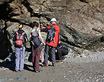 Student group of geologists on a fieldtrip at Polpeor Cove, Lizard Point, Cornwall, England