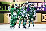Stockholm 2014-03-05 Bandy SM-semifinal 3 Hammarby IF - V&auml;ster&aring;s SK :  <br /> Hammarbys David Pizzoni Elfving , Hammarbys Adam Gilljam jublar med Hammarbys Stefan Erixon efter sitt 5-3 p&aring; straff i slutet<br /> (Foto: Kenta J&ouml;nsson) Nyckelord:  VSK Bajen HIF jubel gl&auml;dje lycka glad happy
