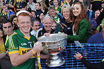 Johnny Buckley celebrates with his family Mike, Eileen, Clare and Aine after winning the 2014 All-Ireland Football Final against Donegal in Croke Park 2014.<br /> Photo: Don MacMonagle<br /> <br /> <br /> Photo: Don MacMonagle <br /> e: info@macmonagle.com