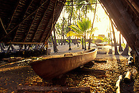 Crafting of a boat completed and being illuminated by sunlight, city of refuge (Puu Honua o Honaunau)