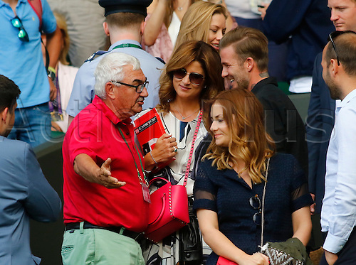 06.07.2016. All England Lawn Tennis and Croquet Club, London, England. The Wimbledon Tennis Championships Day 10.  David Beckham chats with Robert Federer and Mirka Federer after their son Roger Federer won in five sets against number 9 seed, Marin Cilic (CRO).