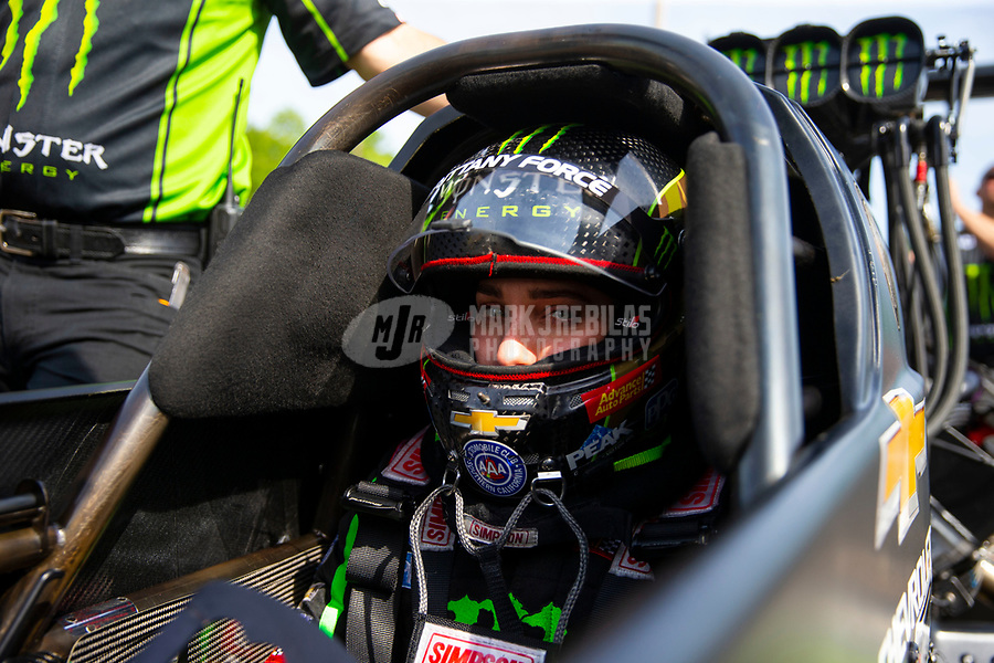 May 4, 2018; Commerce, GA, USA; NHRA top fuel driver Brittany Force during qualifying for the Southern Nationals at Atlanta Dragway. Mandatory Credit: Mark J. Rebilas-USA TODAY Sports