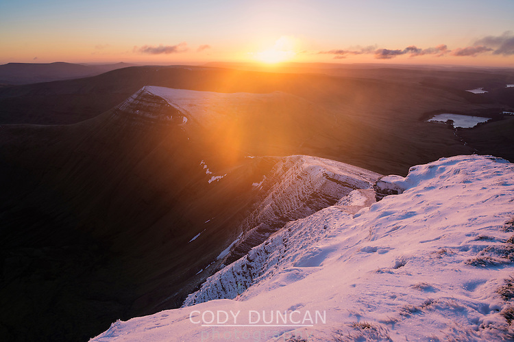 Winter sunrise from Pen Y Fan, Brecon Beacons national park, Wales