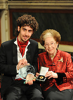 PICTURE BY VAUGHN RIDLEY/SWPIX.COM - Leeds International Piano Competition 2012 - Leeds Town Hall, Leeds, England - 15/09/12 - The winner Federico Colli of Italy and Dame Fanny Waterman
