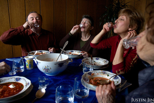 The Tkach family toasts vodka before enjoy borscht made by Ukrainian Jewish emigre Maria Tkach, 90, at home in Berlin. Borsht is a traditional Ukrainian cuisine that has spreaded via Russia throughout the former Soviet sphere.