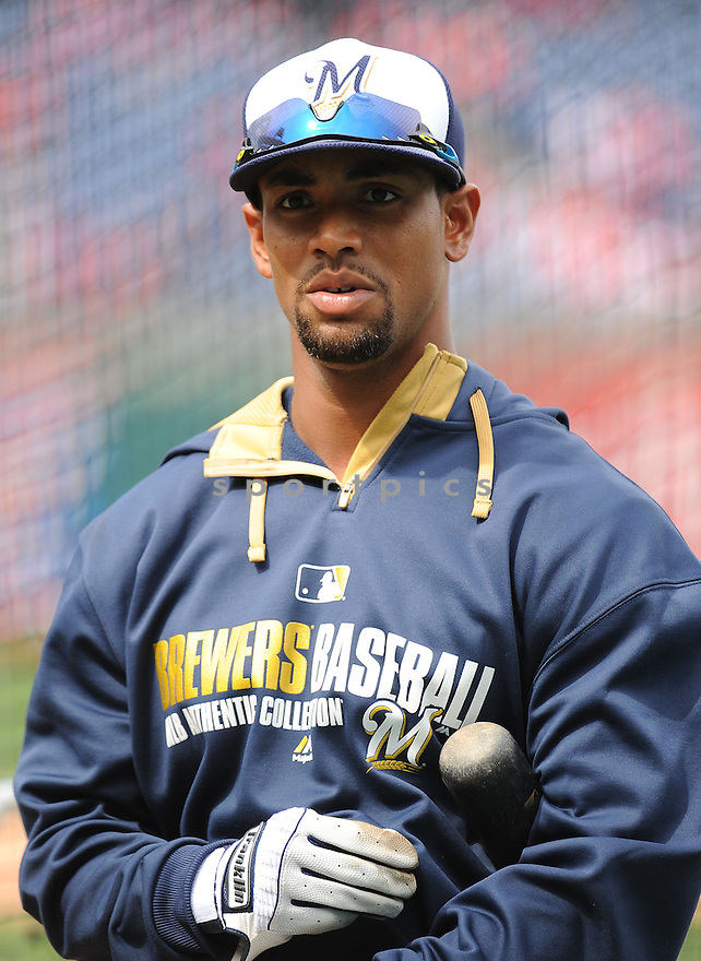 Milwaukee Brewers Khris Davis (18) during a game against the Philadelphia Phillies on April 8, 2014 at Citizens Bank Park in Philadelphia, PA. The Brewers beat the Phillies 10-4.